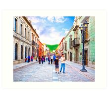 Afternoon Stroll in Historic Oaxaca Mexico Art Print