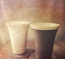 Pair of Earthenware Ceramic Pottery Cups by Beverly Claire Kaiya