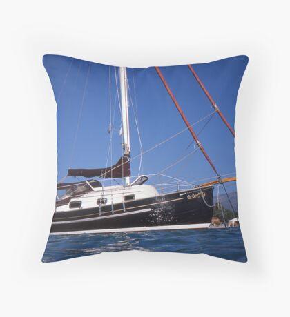 Caraway at Anchor off Corsica Throw Pillow