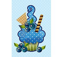 Blueberry Cupcake Photographic Print