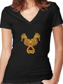Sea Horses Tribal Tattoo Women's Fitted V-Neck T-Shirt