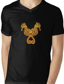 Sea Horses Tribal Tattoo Mens V-Neck T-Shirt