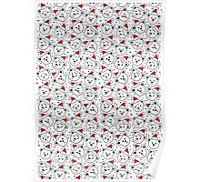 polar bears in Santa Claus hats seamless pattern on white Poster