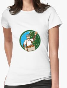 Fruit Picker Worker Picking Plum Circle Womens Fitted T-Shirt