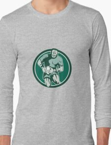 Rugby Player Running Attacking Circle Retro Long Sleeve T-Shirt