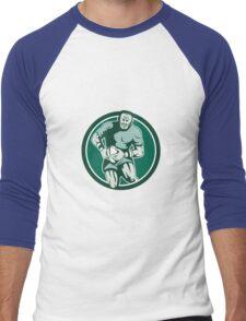 Rugby Player Running Attacking Circle Retro Men's Baseball ¾ T-Shirt