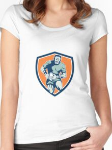 Rugby Player Running Attacking Shield Retro Women's Fitted Scoop T-Shirt