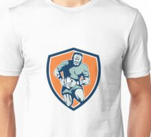 Rugby Player Running Attacking Shield Retro Unisex T-Shirt