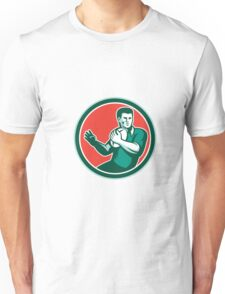 Rugby Player Ball Hand Out Circle Retro Unisex T-Shirt