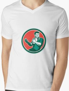 Rugby Player Ball Hand Out Circle Retro Mens V-Neck T-Shirt