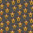 reindeer in Santa Claus hats seamless pattern on dark by demonique