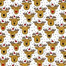 reindeer in Santa Claus hats seamless pattern on white by demonique