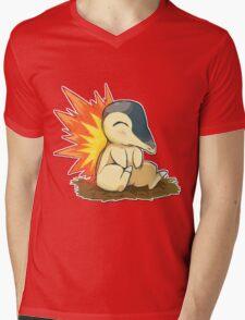 Pokemon Cute Cyndaquil Mens V-Neck T-Shirt