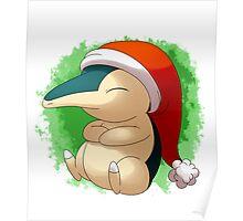 Pokemon Christmas Santa Cyndaquil Poster