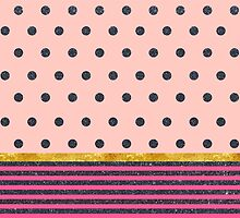 Shiny Black Polka Dots and Stripes on Pink by cafelab
