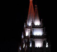 Salt Lake Temple - East Spires at Night by Ryan Houston