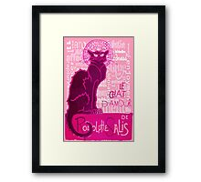Le Chat D'Amour In Pink With Words of Love Framed Print