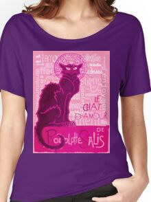 Le Chat D'Amour In Pink With Words of Love Women's Relaxed Fit T-Shirt