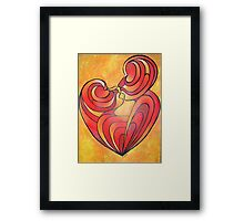 Lovers Kiss And Their Bodies Form A Love Heart Framed Print