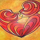 Lovers Kiss And Their Bodies Form A Love Heart by taiche