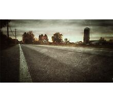 Spooky Upstate New York Farm Road With Silo at Sunset Photographic Print