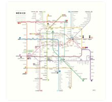 Mexico metro map Art Print