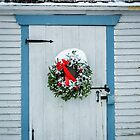 Blue Holiday Door by Debbra Obertanec