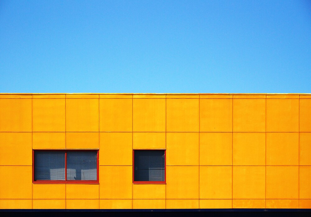 yellow squares, red windows by Janet Leadbeater