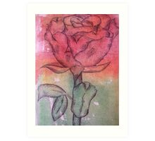 Coloured Rose Art Print