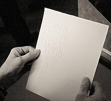Embossing Alphabet (calligraphy) in black & white by Guy Vandervoort