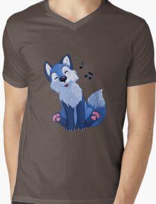 Blue singing, swinging foxy Mens V-Neck T-Shirt
