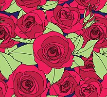 Vintage Victorian Red Rose Flower Pattern by sale
