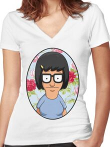 Tina Belcher Floral Women's Fitted V-Neck T-Shirt
