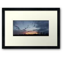 HDR Composite - Fading Sunset and Tree Silhouettes Framed Print