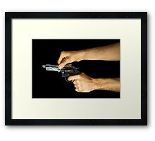 Think Before You Shoot Framed Print