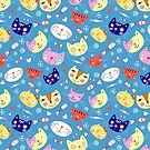 pattern of portraits of cats by Tanor