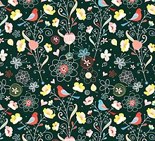 pattern of flowers and birds by Tanor