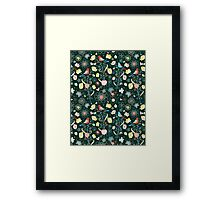 pattern of flowers and birds Framed Print