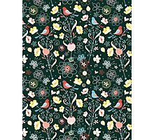 pattern of flowers and birds Photographic Print