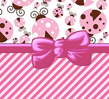 Ribbon, Bow, Ladybugs, Stripes - Pink Brown by sitnica