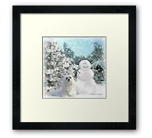 Snowdrop the Maltese & The Snowman Framed Print
