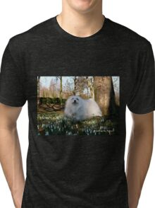 Snowdrop the Maltese -  in the Snowdrop Woods Tri-blend T-Shirt