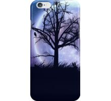 Big moon in the starry space and tree silhouette iPhone Case/Skin