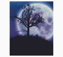 Big moon in the starry space and tree silhouette One Piece - Long Sleeve