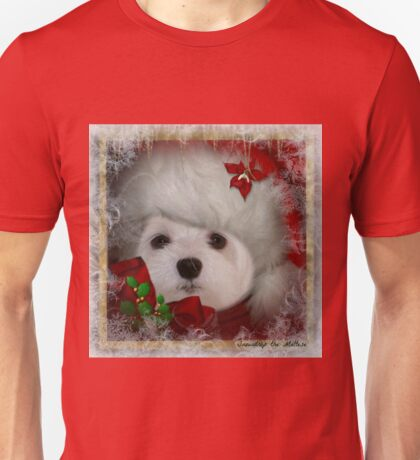 Snowdrop the Maltese on Christmas Eve Unisex T-Shirt
