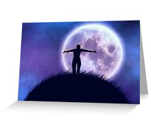 Big moon in the starry space and happy girl silhouette Greeting Card
