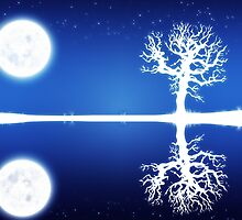 Big moon and white tree silhouette by AnnArtshock