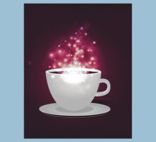 Illustration of cup of coffee with sparks background Kids Tee