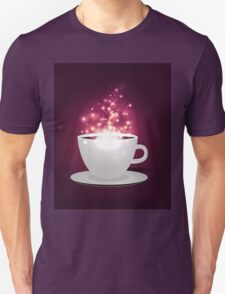 Illustration of cup of coffee with sparks background Unisex T-Shirt