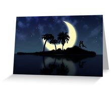 Abstract surreal tropical island silhouette and teen couple Greeting Card